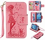 Yiizy Samsung I9500 Galaxy S4 Coque Etui, Fille Gaufrage Design Flip PU Cuir Cover Couverture Coquille Portefeuille Housse Média...