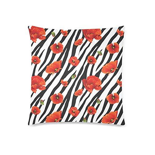 WXM - Federa protettiva per cuscino con motivo zebrato e papavero, 45 x 45 cm, decorazione per la casa