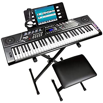 RockJam 61 Key Keyboard Piano With Pitch Bend Kit Keyboard Stand Piano Bench Headphones Simply Piano App & Keynote Stickers