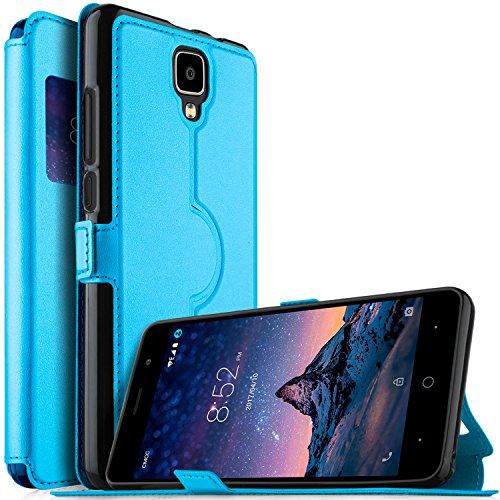 KuGi DOOGEE X10 Hülle, DOOGEE X10 Premium PU Leder Kasten für DOOGEE X10 Smartphone (Blau)