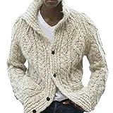Hombre Suéter Chaqueta Manga Larga Cálido Cárdigan con Botones Moda Color Sólido Pullover Otoño Invierno Prendas de Punto Abrigos
