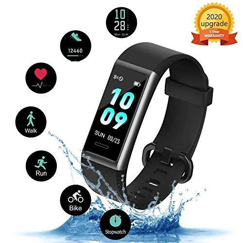 KUNGIX Fitnesstracker, 0,96 inch IP68 waterdichte fitnessarmband, hartslagmeter, slaapmonitor, stappenteller, smartwatch, activiteitstracker horloge met 14 sport-trainingsmodi, voor iOS en Android