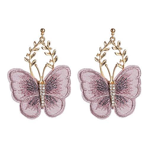 SALAN Fashion Chiffon Lace Butterfly Pendientes para Mujer Rhinestone Insecto Grande Big Branch Aleación Stud Pendientes Joyería para Niñas