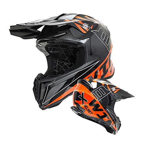 LEENY Cascos de Motocross, Cascos de Cross Moto Off-road Enduro Downhill MTB Kart BMX ATV Quad Motocicleta Racing Casco integral de Protección Casco de Moto Universal 4 Estaciones, Negro Naranja,M
