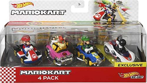 Hot Wheels Mario Kart mini-véhicules Mario, Luigi, Bowser et Yoshi, échelle 1:64, inspiré par les personnages et voitures du jeu, jouet pour enfant, GLN53
