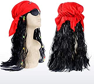 ZAC l/'alter ego Pirate Parrucca con Perline per Capelli Colori /& Teschio Durag