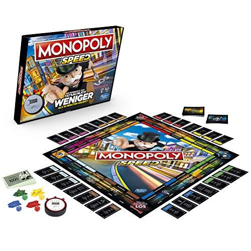 Monopoly Speed Brettspiel, Monopoly in weniger als 10 Minuten, eine schnelle Version des Monopoly Brettspiels ab 8 Jahren, Spiel für 2-4 Spieler