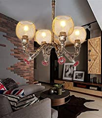 OUUED 4-Lights Industrial Vintage Rustic Steampunk Chandeliers Metal Iron Waterpipe Retro Ceiling Pendant E27 Edison Antique Lamp Restaurant Bar Cafe Chandelier #3