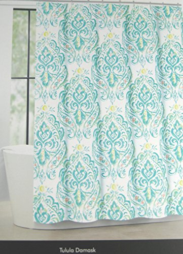 Tahari Home Fabric Shower Curtain Tulula Floral Damask Whtie/Aqua 72' X 72'