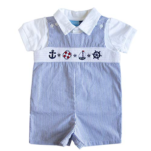 Good Lad Newborn/Infant Boy Blue Seersucker Smocked Shortall Set with Nautical Embroideries (12M)