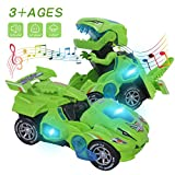 Flyson Dinosaur Toys for 3-6 Year Old Boys Transforming Dinosaur Car with LED Light and Music Gifts for 4-7 Year Old (Green)