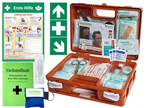 "Erste-Hilfe-Koffer Quick -Komplettpaket- mit\""Notfallbeatmungshilfe\"" für Betriebe DIN/EN 13157 + DIN 13164 - inkl. 1.Hilfe Aufkleber & Aushang"