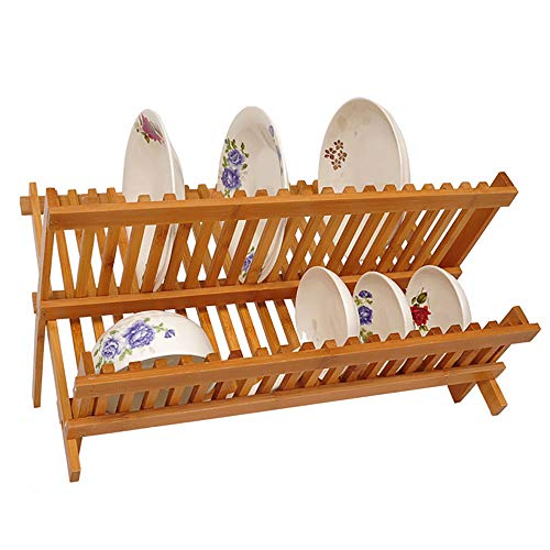 Escurreplatos De Cocina Madera, Escurreplatos Plegable para Secar Vasos Y Plato Secaplatos Compacto De Bambú Resistente Al Agua
