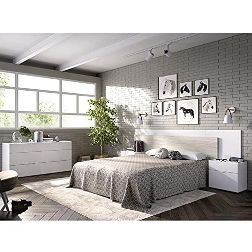 HABITMOBEL Conjunto Dormitorio de Matrimonio, Cabecero con 2 mesitas + Cómoda, Acabado Blanco y Gris