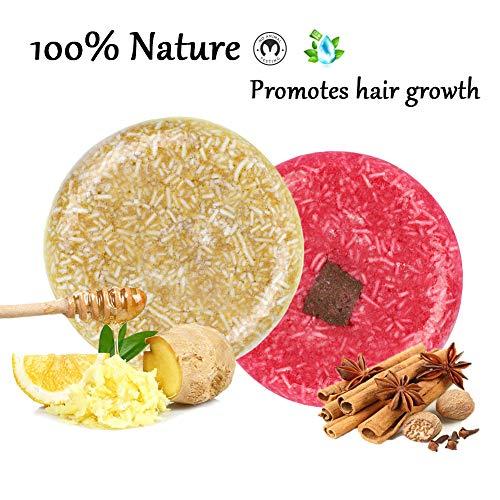 100% Natural Shampoo Bar for Hair 2 Pieces Solid Shampoo...