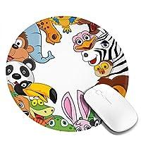 動物 マウスパッド 丸型 20cm 滑り止め 防水 おしゃれ 洗える ビジネス用 家庭用 ゲーム用