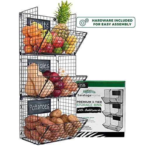 Sturdy Stylish 3-Tier Storage Baskets for Wall Counter or Floor by Saratoga Home - Organize Fruit or Produce Personalize with Removable Chalkboards Add Farmhouse Charm to your Home Easy Assembly