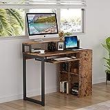 Tribesigns Computer Schreibtisch Schreibtisch PC Notebook Laptop Lerntisch Schreibtisch Schreibtisch Workstation mit Eisenrohrrahmen und 4-Würfel Bücherregal für Home Office