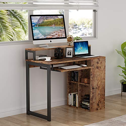 Computer Desk Writing Study Desk PC Notebook Laptop Study Table Office Desk Workstation Industrial Modern Simple Style with Iron Tube Frame and 4-cube Bookcase for Home Office by Tribesigns