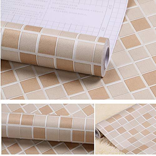 LZYMLG Mosaik selbstklebende Tapete Schlafsaal Wohnzimmer TV Hintergrundbild Küche Badezimmer Fliesen PVC-Aufkleber Brauner Kaffee