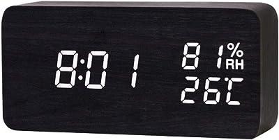 Magic Sea Despertador/Reloj Despertador Multifuncional LED De Temperatura Y Humedad Despertador Electrónico,White