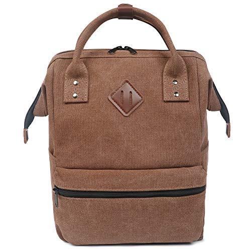 Oflamn Zaino Scuola Vintage per Uomo e Donna - Zaino Laptop per 14' - Zaino da Viaggio in Tela - Leather Canvas School Backpack (1.0 caffè)