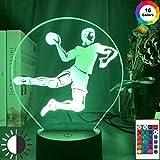 KangYD Figura de jugador de balonmano deportivo con luz nocturna LED, lámpara de ilusión 3D, B - Base negra remota (16 colores), Lámpara de humor, Luz creativa
