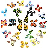 20 Pieces Magic Flying Butterfly Rubber Band Powered Wind up Butterfly Toy for Surprise Book Romantic Fairy Flying Toys for Party Playing Birthday Anniversary Wedding Halloween Christmas Surprise