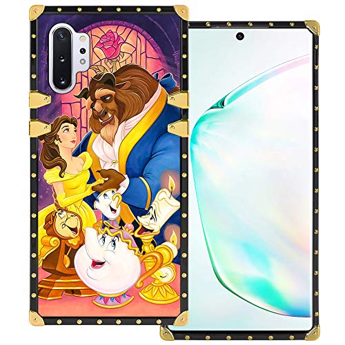 DISNEY COLLECTION Samsung Galaxy Note 10+ 5G Square Case Beauty and The Beast Luxury Cute Metal Decoration Full Protective Soft TPU Shockproof Back Cover for Samsung Galaxy Note 10 Plus 6.8 Inch