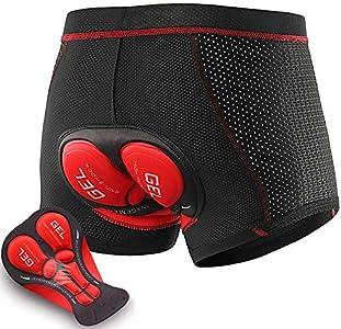 LXZH Calzoncillos Ciclismo Hombre 5D Gel Acolchado, MTB Bicicleta Pantalones Cortos Montaña Bike Ropa Interior Ciclismo Shorts Transpirable Secado Rápido,Rojo,XL