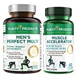 Muscle Accelerator + Men's Perfect Multi Bundle - Purity Products - Clinically Tested Muscle Accelerator Blend - Advanced Mens Multivitamin - Promotes Strength + Supports Healthy Testosterone Levels