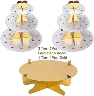 Round Cardboard Cupcake Stand 3-Tie Paper Dessert Tower Gold Star and Moon design Cake Stand Reusable Treat Stacked Pastry Platter Food Display For Birthday Wedding Event Decoration (Pkg of 3)
