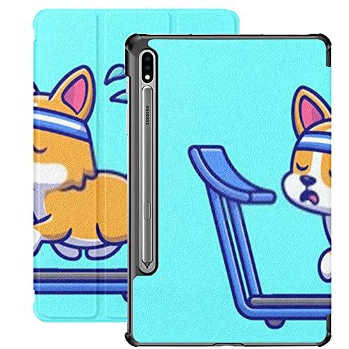Funda para Galaxy Tab S7 Funda Delgada y Ligera con Soporte para Tableta Samsung Galaxy Tab S7 de 11 Pulgadas Sm-t870 Sm-t875 Sm-t878 2020 Release,Exhausted Corgi Running On Treadmill Cartoon