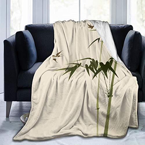 """CVSANALA Decke Werfen,Orientalische Malerei Bambuszweige,Mikrofaser Ganzjahresbett Couch,40\"""" x 50\"""""""