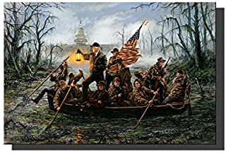 Lzsart HD Printed Oil Paintings Home Wall Decor Art on Canvas,Donald Trump,Crossing,The Swamp 4size#010 (Framed,16x24x1inch)
