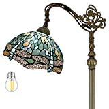 Tiffany Style Reading Floor Lamp W12H64 Inch (LED Bulb Included) Sea Blue Stained Glass Crystal Bead Dragonfly Lampshade Antique Lighting Arched Base S147 WERFACTORY Lamps Living Room Bedroom Gifts