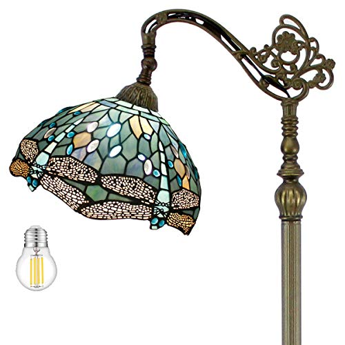 """Tiffany Floor Lamp Dragonfly 64""""Tall LED Industrial Pole Vintage Boho Stained Glass Standing Corner Bright Reading Soft Light Arched Gooseneck Adjustable-Living Room Kids Bedroom Farmhouse WERFACTORY"""