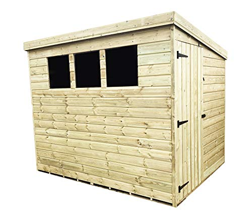 iLikeSheds 6 x 4 Pressure Treated Tongue And Groove Pent Shed With 3 Windows And Side Door