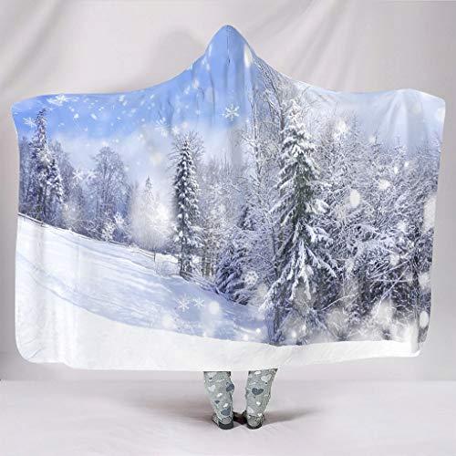 Wandlovers Fantasy Winter Schneewald Schneeflocke Druck Kuschelig Mit Kapuze Tribal Plüsch Kapuzenshirt White 150x200cm