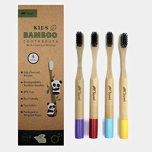 Suwi Kids Bamboo Toothbrush with Soft Charcoal Bristles Set of 4 Eco Friendly Toothbrushes
