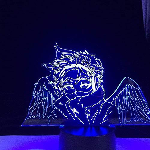 Luz nocturna 3D con ilusión japonesa de anime ilusión de luces LED decorativas Boku no Hero Academia Hawks Anime luces 3D LED My Hero Academia cambio de color luz nocturna Lampara para regalo MAOJIE