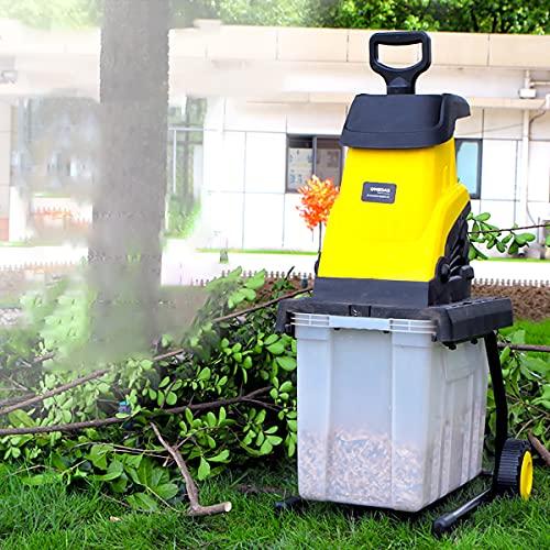CRZJ Trituradora trituradora trituradora de Madera eléctrica de 2500 W, diámetro de Corte de 45 mm, trituradoras de Ramas de jardín, con Cable de alimentación de 10 m y Caja de Recogida de 45 l