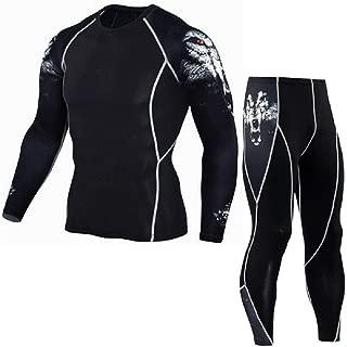 Mens Quick Dry Compression Long Sleeve Baselayer Athletic Shirt Bottom Set Workout Leggings Rashguard Yoga Pants