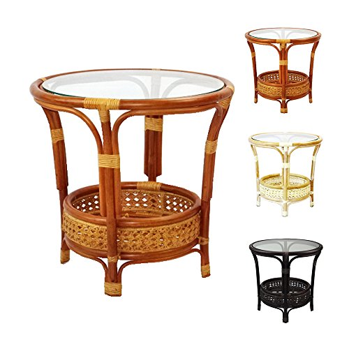 Pelangi Coffee Round Table Handmade ECO Natural Rattan Wicker with Glass Top, Colonial