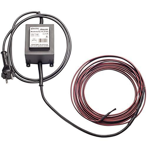 electra-Therm 12V Heizkabel inklusive Sicherheits-Transformator, 4,90m lang, schützt bis -35°C, Frostschutz Kabelheizung Rohrbegleitheizung Sicherheits-Heizkabel