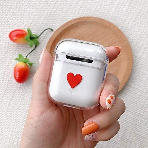 Oortelefoonhoesje Rood Hartpatroon Schokbestendig Gekleurd Tekenen PC Beschermhoes voor Apple AirPods 1/2 koptelefoon schokbestendige hoes