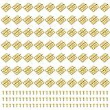 Iyowei 70Pcs Bisagras Pequeñas Bisagras para Caja de Madera 1.8*1.6cm, con 280Pcs Tornillos, Conectores de Bisagras Pequeñas Manualidades Joyero Gabinete (Dorado, 18*16MM)