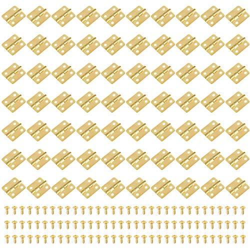 Iyowei 70Pcs Bisagras Puertas Bisagras para Caja de Madera Bisagras Pequeñas 1.8*1.6cm, con 280Pcs Tornillos, Conectores de Bisagras Pequeñas Manualidades Joyero Gabinete (Dorado, 18*16MM)