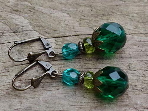Tolle Vintage Ohrringe mit böhmischen Glasperlen - grün, tannengrün, oliv, olivgrün, petrol, emerald & bronze