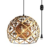 Hanging Swag Ceiling Lamp Twine Natural Rattan Lampshade No Wiring Needed Portable Pendant Light with 15ft Plug-in UL Dimmable Modern Farmhouse Black Cord Chandelier Instant on Swag Lamp,Customizable